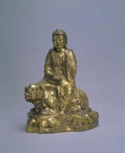 青铜鎏金-文殊菩萨坐像