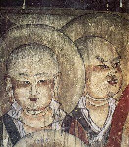 文殊山西夏石窟壁画-佛弟子