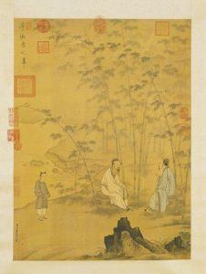 道士赞刘伯温是天才-竹林谈道图