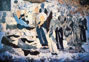 北周石窟壁画-菩萨,弟子及飞天