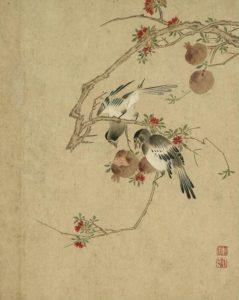 清 陈书-石榴喜鹊图