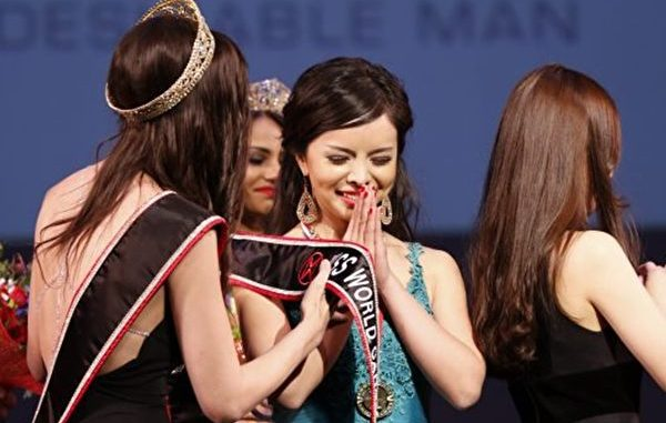 2015年5月16日,华裔女孩林耶凡(Anastasia Lin,中)当选2015年加拿大世界小姐。