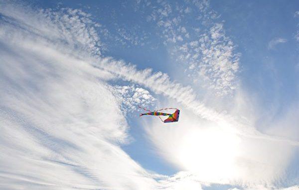 风筝在天空中飞
