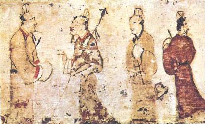 汉代男子穿着直裾、曲裾深衣以及袍服。(图片来源:维基百科)