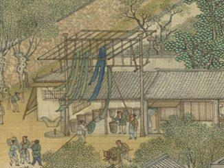 《清院本清明上河图》中的染布工坊。(公有领域)