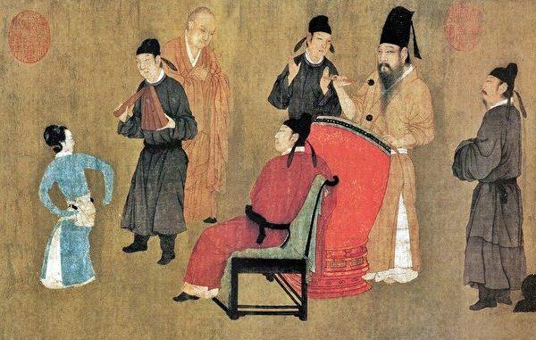 五代 顾闳中《韩熙载夜宴图》(局部)-观舞。图中舞蹈者表演的即是《绿腰》。(公有领域)