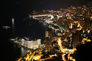 A picture shows a night view of Monaco d