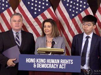 美国众议院议长佩洛西与史密斯议员会见香港代表黄之锋、何韵诗、罗冠聪等人。(佩洛西直播视频截图)