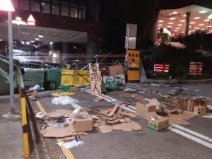 港共政权, 掘砖堵路, 水炮车