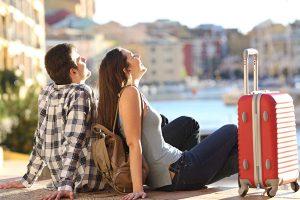 Couple of tourists enjoying vacations