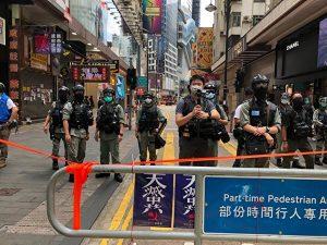 铜锣湾记利佐治街防暴警察封锁线