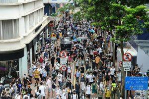 7月1日铜锣湾恩平道的抗争人潮