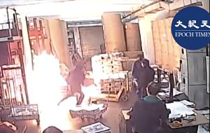中共雇4名凶徒冲入承印香港《大纪元时报》的印刷厂,纵火烧毁机器和报纸