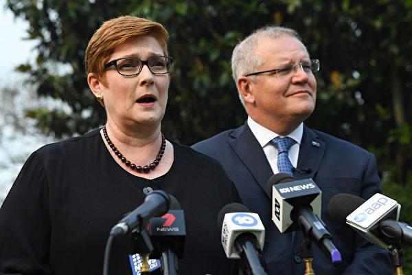 澳洲外长佩恩4月27日表示,澳洲要求独立调查疫情内幕合情合理,公开透明和诚实的评估非常重要。图为外长佩恩(左)和总理莫里森。