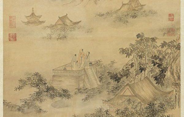 中秋赏月。图是清.董邦达画 中秋帖子诗意 轴。